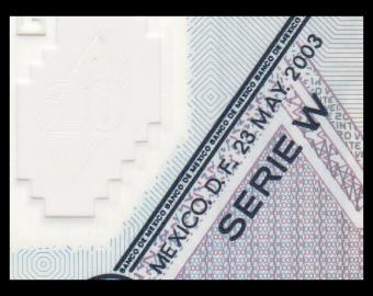 Mexique, P-116d2, 20 pesos, 2003, Polymère, Presque Neuf / A-UNC