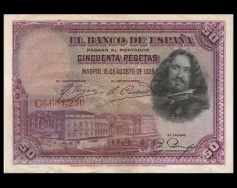 Espagne, P-075b, 50 pesetas, 1928, TB / Fine