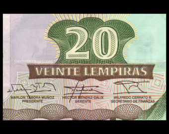 Honduras, P-100b, 20 lempiras, 2014