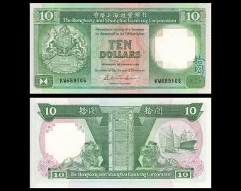 Hongkong, P-191a, 10 dollars, 1986