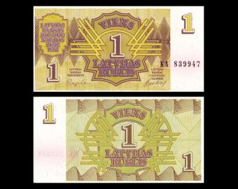 Latvia, P-35, 1 rublis, 1992