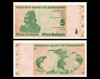 Zimbabwe, P-93, 5 dollars, 2009