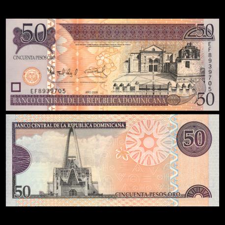 Rép Dominicaine, P-176b, 50 pesos, 2002