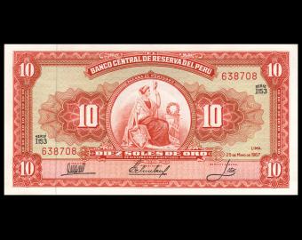 Pérou, P-084d, 10 soles de oro, 1967