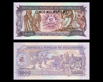 Mozambique, P-133b, 5000 meticais, 1989