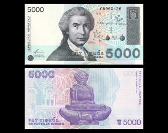 Croatia, P-24, 5000 dinara, 1992