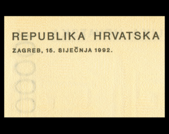 Croatie, P-25, 10000 dinara, 1992