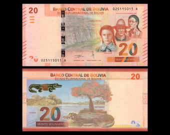 Bolivia, P-new, 20 bolivianos, 2018