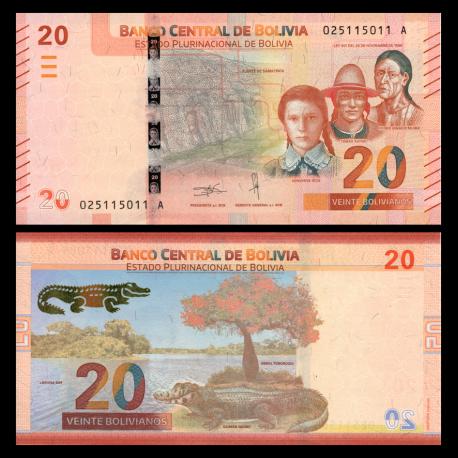 Bolivie, P-new, 20 bolivianos, 2018