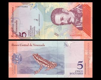 Venezuela, P-102a, 5 bolívares soberanos, 2018