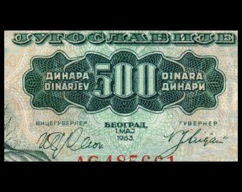 Yugoslavia, P-074, 500 dinars, 1963
