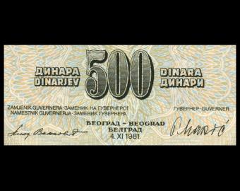 Yugoslavia, P-091b, 500 dinara, 1981