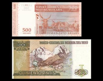 Lot 2 banknotes of 500 : Madagascar Peru