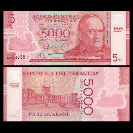 Paraguay, P-234a, 5000 guaranies, Polymère, 2011