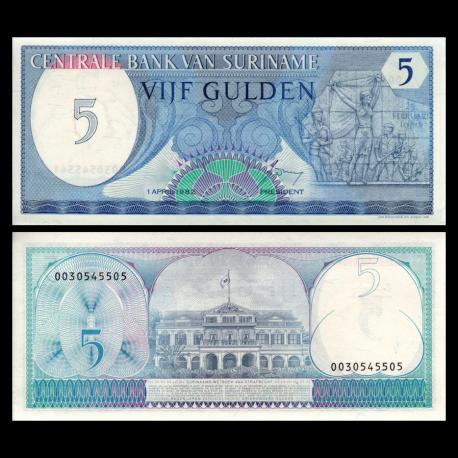Suriname, P-125, 5 gulden, 1982