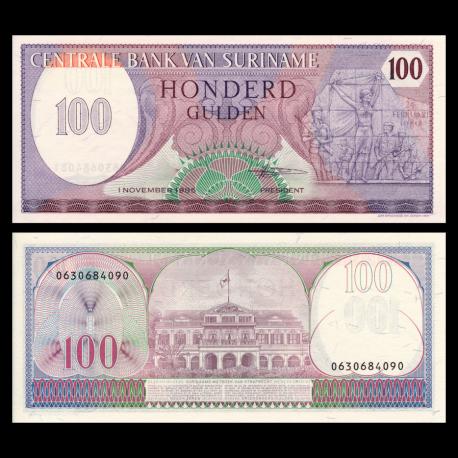 Suriname, P-128b, 100 gulden, 1985
