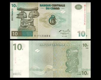 Congo, P-87B, 10 francs, 1997