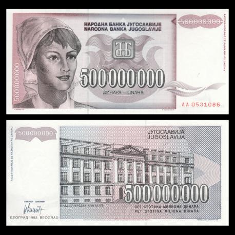 Yugoslavia, P-125, 500 000 000 dinara, 1993