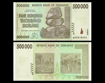 Zimbabwe, P-76a, 500 000 dollars, 2008