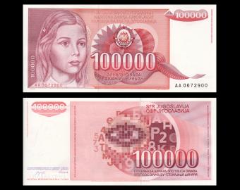 Yugoslavia, P-097, 100 000 dinara, 1989