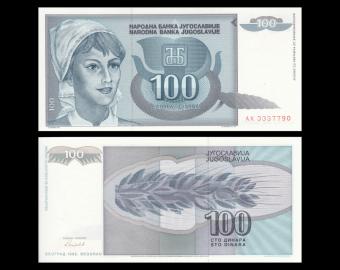 Yougoslavie, P-112, 100 dinara, 1992