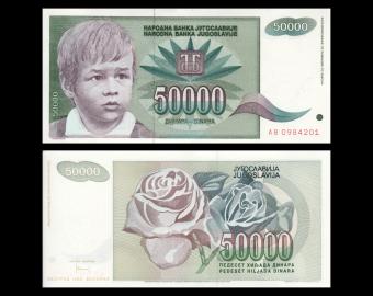 Yugoslavia, P-117, 50 000 dinara, 1992, SPL / A-UNC