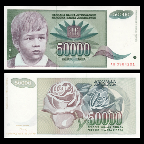 Yugoslavia, P-117, 50 000 dinara, 1992