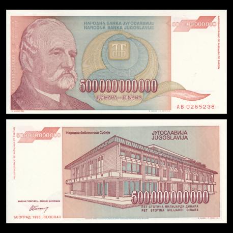Yugoslavia, P-137, 500 000 000 000 dinara, 1993