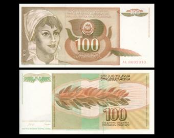 Yugoslavia, P-105, 100 dinara, 1990
