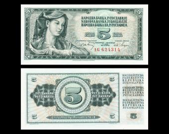 Yougoslavie, P-081a, 5 dinara, 1968