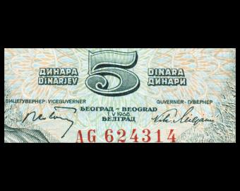 Yugoslavia, P-081a, 5 dinara, 1968