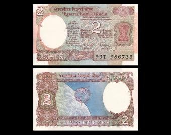 India, P-079h, 2 rupees, 1975-96