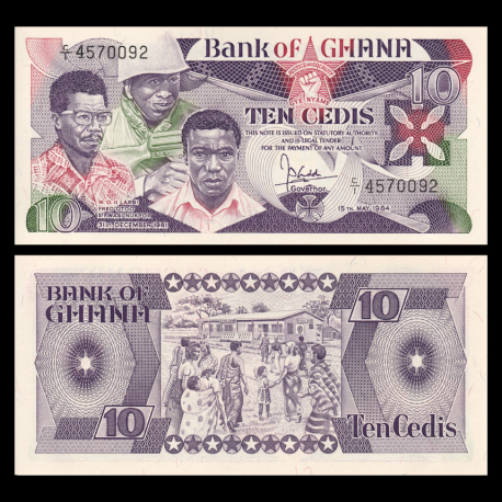Ghana, P-23, 10 cedis, 1984