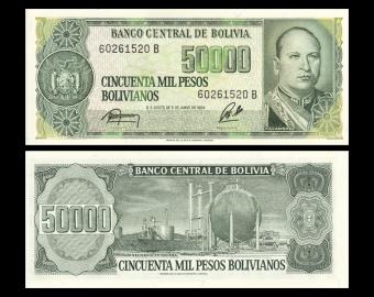 Bolivie, P-170a, 50 000 bolivianos, 1984