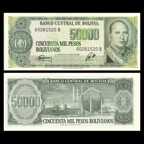 Bolivia, P-170a, 50 000 bolivianos, 1984