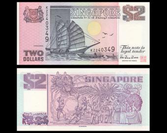 Singapore, P-37, 2 dollars, 1998
