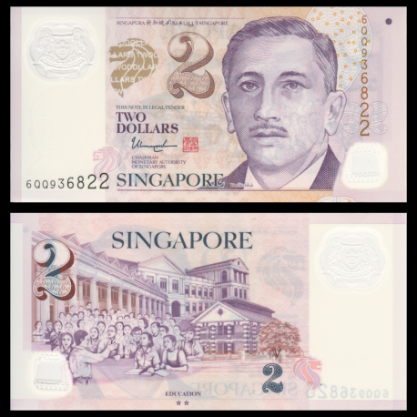 Singapour, P-46k, 2 dollars, Polymère, 2017
