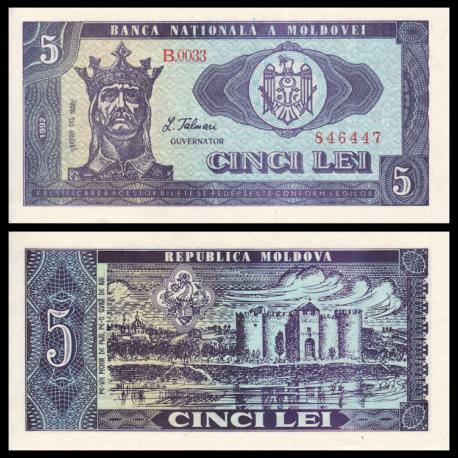 Moldavie, P-06, 5 lei, 1992