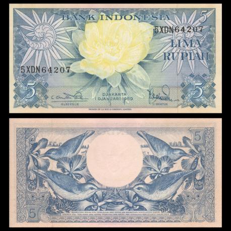 Indonesia, P-065, 5 rupiah, 1959