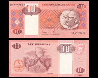 Angola, P-145a, 10 kwanzas, 1999