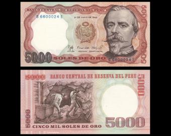 Pérou, P-117c, 5000 soles de oro, 1985