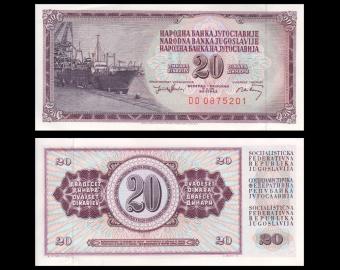 Yugoslavia, P-085b, 20 dinara, 1974
