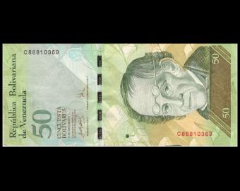 Venezuela, P-092b, 50 bolivares, 2007, TB / Fine