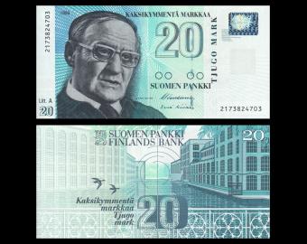 Finlande, P-123(11), 20 markkaa, 1993