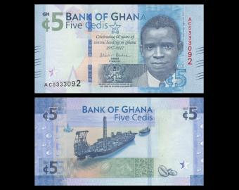 Ghana, P-43, 5 cedis, 2017