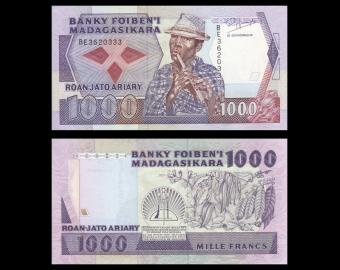 Madagascar, P-072b, 1000 francs, 1993