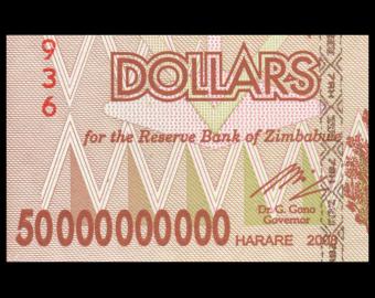 Zimbabwe, P-087, 50 000 000 000 dollars, 2008