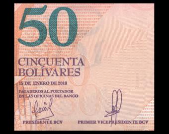 Venezuela, P-105a, 50 bolívares soberanos, 2018