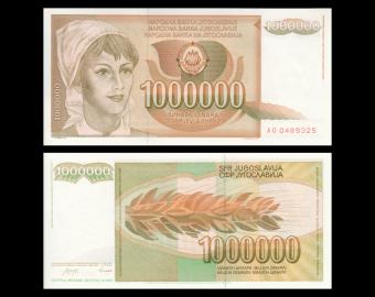 Yugoslavia, P-099, 1 000 000 dinara, 1989
