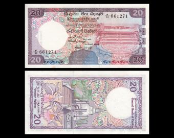 Ceylan, P-093b, 20 roupies, 1985, Presque Neuf / A-UNC